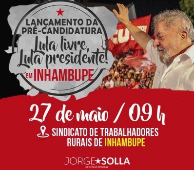 #LulaLivre Na Bahia, pré-candidatura de Lula será lançada no Sertão