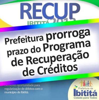 Oportunidade: Prefeitura de Ibititá prorroga prazo do Programa de Recuperação de Créditos